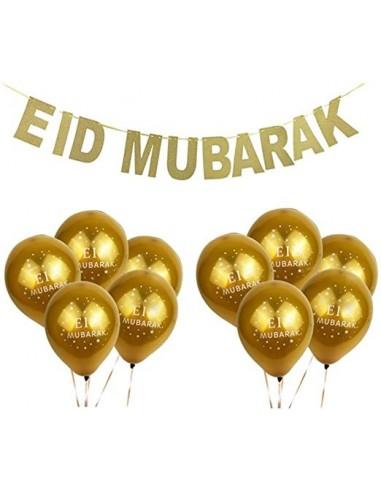 """Bannière """"EID Mubarak"""" + 10 ballons..."""